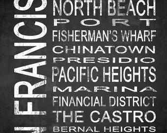 San Francisco 3 Subway Sign Fine Art Canvas Gallery Wrap   Modern Chalkboard Typography