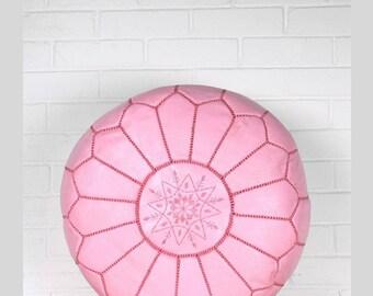 Moroccan Leather Pouf-Light Pink Moroccan Pouf-Pouf Ottoman-Nursery Footstool Pouf-Floor Cushion-Boho Living Room Decor-Moroccan Decor