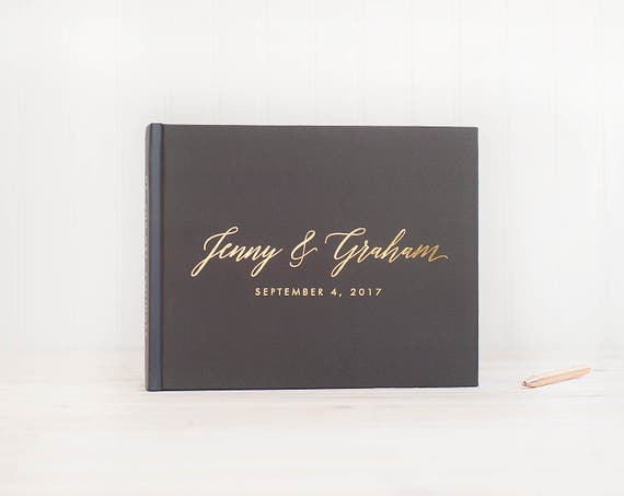 Wedding Guest Book landscape horizontal wedding book with Real Gold Foil wedding guestbook personalized names hardcover instant photo booth