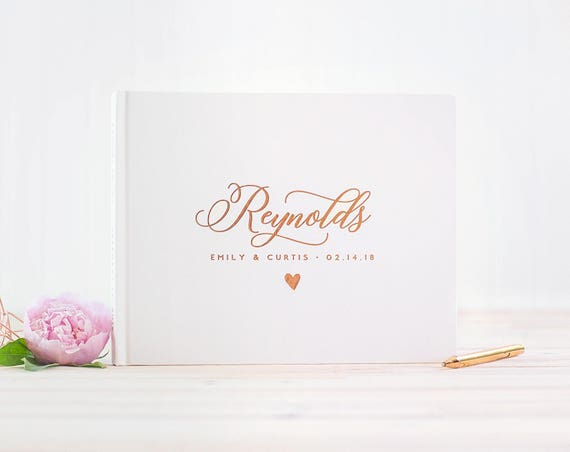 Wedding Guest Book landscape guestbook horizontal wedding album Personalized Rose Gold Foil hardcover wedding guest book wedding journal new
