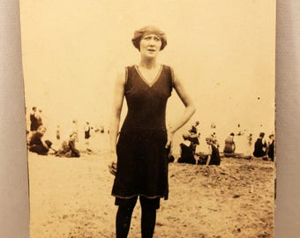 Woman on the Beach 1920s  Photograph Sepia Swimsuit Fashion