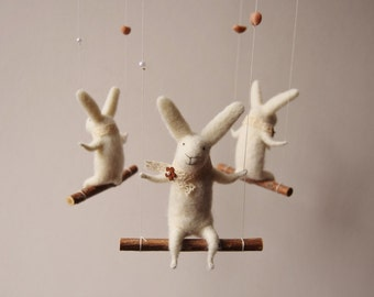 Needle  Felted Bunny Mobile, White Bunny Mobile