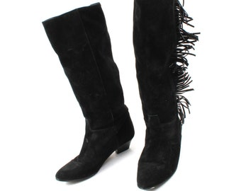 Vintage Boots / Western Boots / Black Suede Leather Boots / Tassels Boots / Tall Boots / Pointy Boots Size EU40 UK6'5 US9