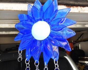 WIND CHIME - Stained Glass Dark Blue Flower Windchime