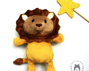 Lion, softie, soft toy, African animal, plush stuffed toy, savannah themed bedroom, CE certified toy, children's birth unisex gift
