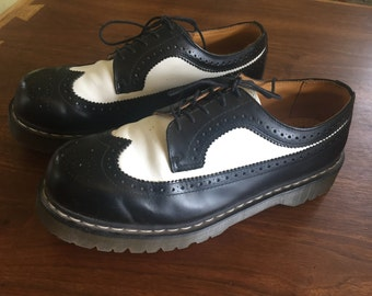 Preppy Hipster Dr. Martens Air Wair Black and White Oxford
