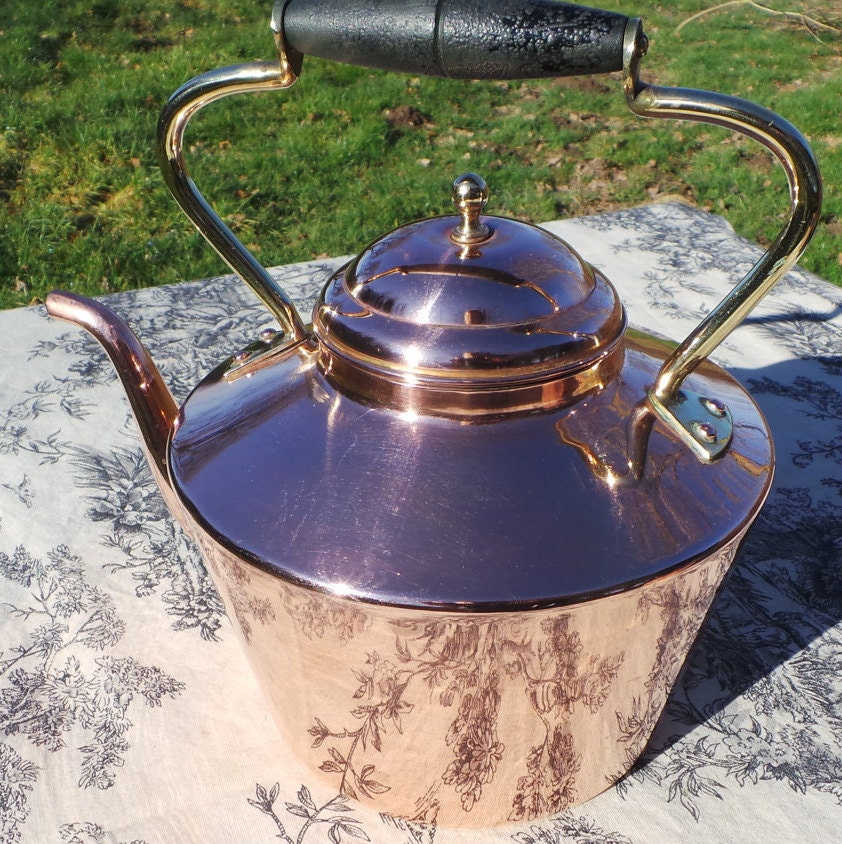 Copper Kettle French Made Vintage Copper Brass Mounts Copper Handle Tinned Interior Fully Water
