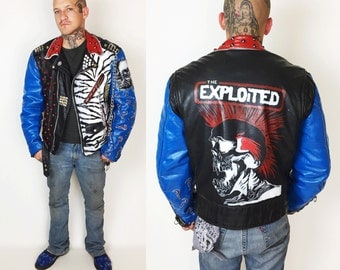 70s Leather Punk Jacket Hand Painted The EXPLOITED Mens Large - Black Studded Spiked Zebra Print Painted Patched Punk Rock Motorcycle Jacket