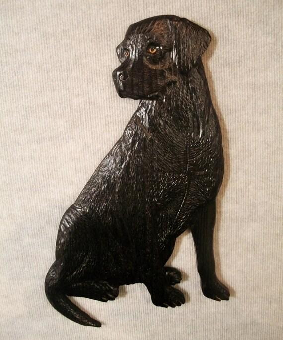 Hand carved labrador retriever black lab wood carving dog
