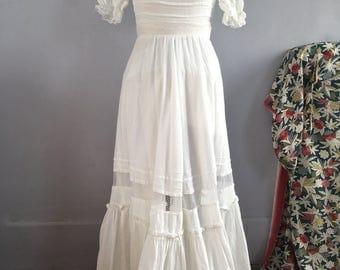 70s prairie dress 70s Victorian style white gauze and lace maxi dress prairie style 70s does Victorian 1970s cotton gauze ruffled dress XS
