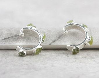 peridot earrings / peridot hoops / peridot hoop earrings / august birthstone / peridot birthstone / birthstone earrings / peridot jewelry