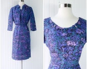 vtg 50s purple peacock & lilac floral print cocktail dress with matching cropped bolero jacket / tiny bows / wiggle sheath / pinup party