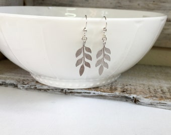 Silver Leaf Earrings, Wedding Earrings, Fall Leaf Earrings, Gold Leaf Earrings