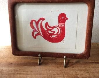 Small Scandinavian Red Bird in Wooden Frame