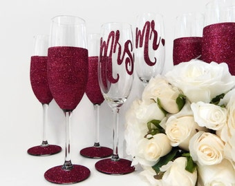 4 Bridal Party Gifts Personalised Toasting Flute Set of 4 Custom Design Wedding Glasses Made in Australia Ruby Wedding Glitter Glass Rio