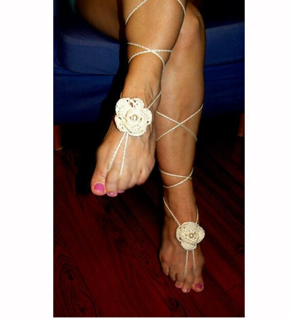 Barefoot flower crochet sandal- Crochet yoga pearl sandals- Boho women dance sandals- Beach wedding- Bridal barefoot sandals- Women gift