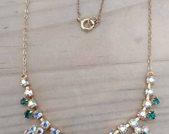Vintage green and white rhinestone necklace