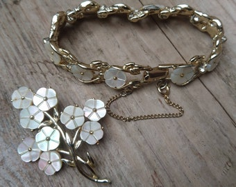 Vintage mother of pearl bracelet and matching brooch