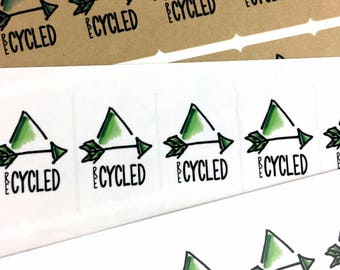 Recycle Labels / Eco Friendly Recycle Triangle Packaging Stickers / Kraft Arrow Label / Upcycle Sticker