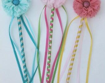 Girls Flower Wand- Fairy wand pincess wand magic wand kids wand ribbon wand wedding wand pink flower wand