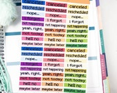 Snarky Canceled Stickers   Rescheduled Stickers for Erin Condren Planner  / Fun Canceled Planner Stickers, Adult Canceled Stickers