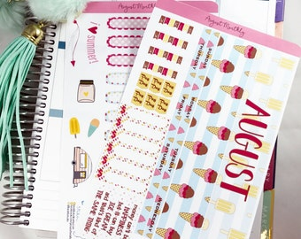 August MONTHLY Kit Planner Stickers | Monthly Spread for Erin Condren  / Stickers for ECLP / Themed Monthly Planner Stickers