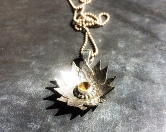 Citrine Flower Sterling Pendant // Hand Forged Textured Petals // Oxidized Weathered Antique Solid Sterling Gem Pendant // Lotus Flower