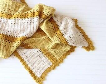 Vintage Afghan Handmade Yellow and Cream Knit Blanket w/ Scalloped Edges Granny Blanket Throw