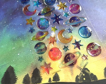 outer space planet sticker little star moon Colorful Galaxy epoxy sticker mystery night fancy sky nine planet solar system sticker gift