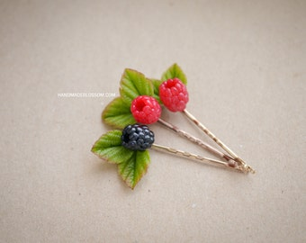 Handmade berries bobby pin, Handmade berry, Polymer clay hair pin, Red berries pin, Blackberry handmade, Raspberries jewelry