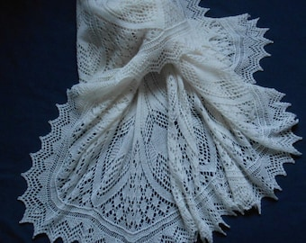 Hand Knitted Lace Baby / Wedding  Shawl . MADE TO ORDER