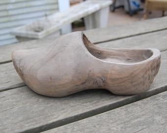Handcarved Dutch Wooden Shoe - Vintage Hand Carved Wooden Clog - Primitive Dutch Wooden Shoe - Dutch Wooden Clog - Vintage Wooden Shoe
