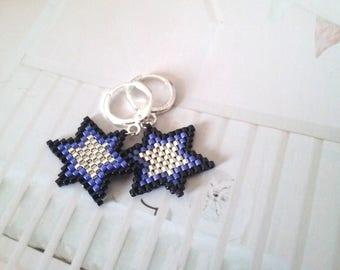 Star Beaded Earrings- Dangle Earrings - Beadwork