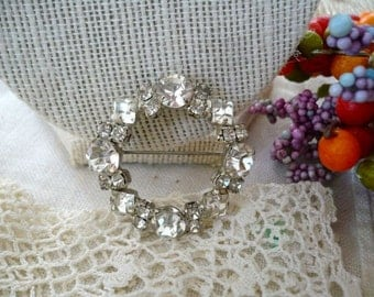Silver Rhinestone Circle Pin Round and Square Clear and Sparkly Crystals