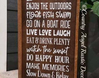 Lake sign. Rustic Sign. At the LAKE we do.. handpainted wood sign, Cottage Sign. Lakehouse decor, Lake Rules Sign. Happy Hour. Lake Decor.