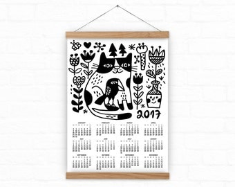 Cat Wall Calendar 2017, Cat, crow and flowers  wall calendar 2017, Funny cat calendar,  A3, A3+ size