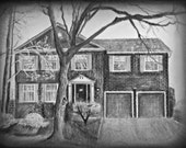 Custom House Drawing, House Portrait, Home Portrait, Anniversary Gift, Housewarming Gift, Gift for Parents, Architectural Drawing, Landscape