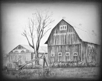 Farm Barn Drawing barn drawing | etsy