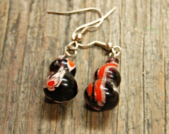 Black and Red Earrings, Lampwork Bead Earrings, Red and Black Drop Earrings, Glass Earrings, Glass Bead Earrings, Lampwork Bead Jewelry