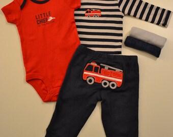 Little Chief Baby Boy Clothing Cupcake Gift Set Newborn Size Fire Truck Unique Baby Shower Welcome Baby Present Fire Fighters Baby Clothing