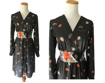 Paisley Dress 70s Mini Disco Plunging Deep V Dress Long Sleeves Black Floral 1970s Boho Size Medium