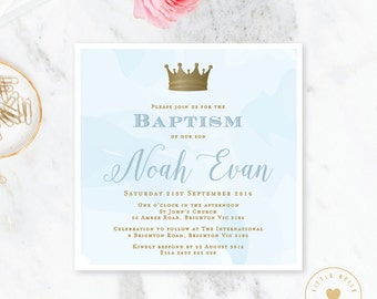 Boy Baptism Invitation Printable / Boy Christening Invite / Crown / Watercolor