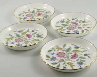 1960's Vintage Set of 4 Minton Haddon Hall Coasters Vintage  China Ring Dish Vintage Mini Plates Bone China Plates For Mom Gift For Her