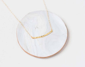 Gold Hammered Bar Necklace - Curved Bar Necklace - Gold Bar Layering Necklace - Simple Bar Necklace - Minimalist Jewelry