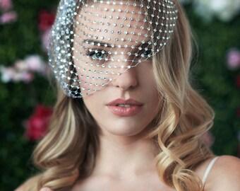 CARRIE - birdcage veil covered w/ rhinestones, russian netting, blusher veil, bridal birdcage veil, wedding headpiece, sparkly veil, veil