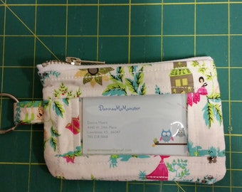 ID Wallet, Coin Purse, Zipper Closure, Made With floral Fabric