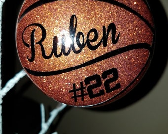 Basketball ornament- Glittered & Personalized