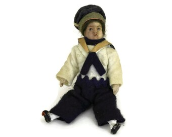 Antique Miniature French Sailor Doll. Antique All Bisque Lilliputian Doll