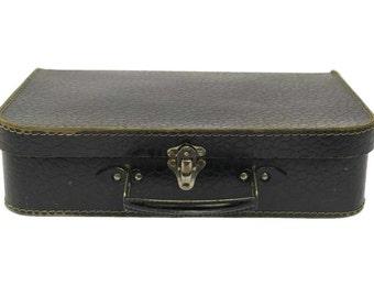 Vintage Navy Blue Cardboard Suitcase .