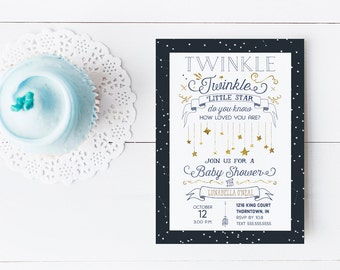 Twinkle Twinkle Little Star Baby Shower Invitation for a Boy or Girl - Navy and Gold - Printed or Printable Invitations